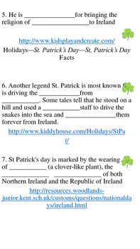Saint Patrick's Day Web Quest
