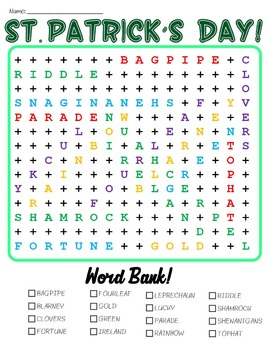 Saint Patrick's Day Word Search Pack!