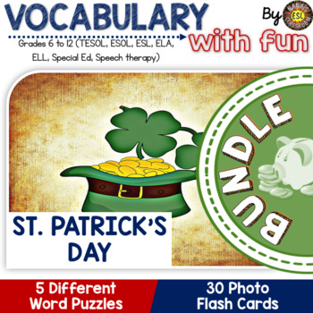St. Patrick's Day 5 Word Puzzles 30 Photo Flash Cards BUNDLE