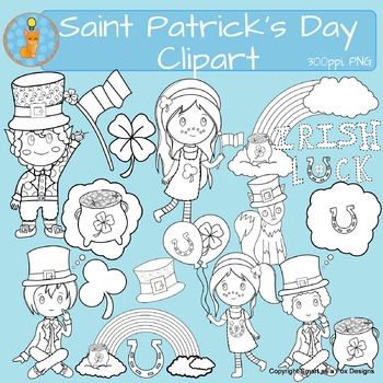 Saint Patrick's Day clip art (Blacklines included)
