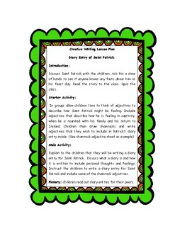 FREE Story of St. Patrick, Quiz, Creative Writing Lesson Plan.