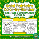Saint Patrick's Color by Number ~ Addition & Subtraction Within 10