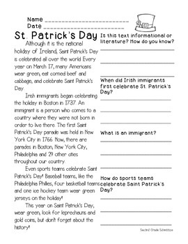 Saint Patrick's DAY Informational FREEBIE!