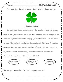 Saint Patrick's Day Activity Bundle