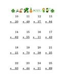Saint Patrick's Day Addition Double Digits Kindergarten Math
