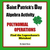 Saint Patrick's Day Algebra Activity:  Polynomial Operations