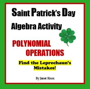 Saint Patrick's Day Algebra Activity:  Polynomial Operations