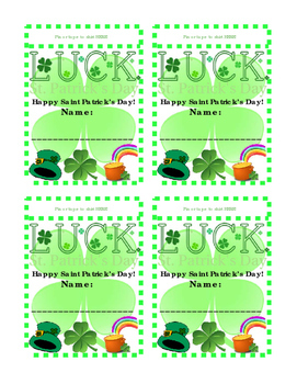 Saint Patricks Day Cut Out Name Tags Shirt Bulletin Board Fun Literacy Printable