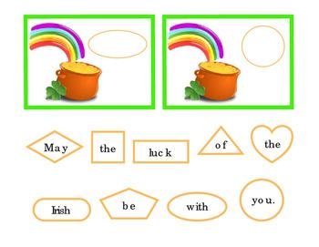 Saint Patricks Day Cut Paste Sentence Rainbow Gold 4 Leaf