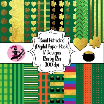 Saint Patricks Day Digital Paper- 16 Designs- 12 by 12- 300 dpi