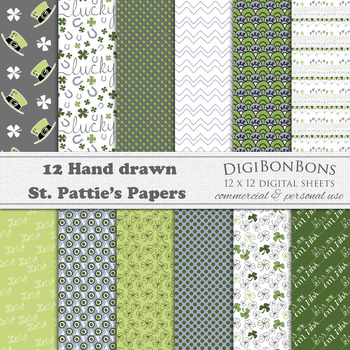 Saint Patricks Day Digital Paper - hand drawn, commercial use, colorful