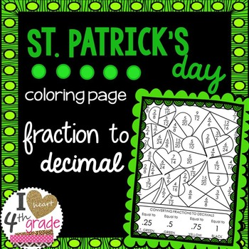 St Patrick's Day Fraction to Decimal Coloring Page