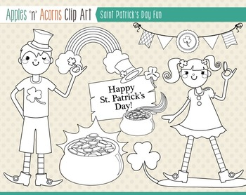 Saint Patrick's Day Fun Clip Art - color and outlines