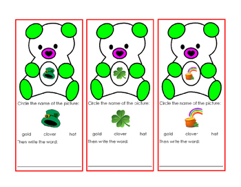 Saint Patricks Day Green Bear Cut Out Task Card Writing Words Hat Clover Gold 1p
