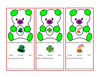 Saint Patricks Day Green Bear Cut Out Task Card Writing Wo