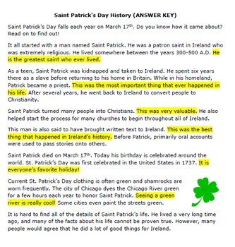 Saint Patrick's Day Worksheet - Great for a History, Literacy, or ELA Center