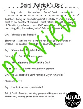 Saint Patrick's Day Informative Reader's Theater