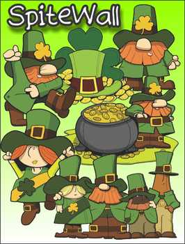 Saint Patrick's Day Leprechaun Clip Art Pack for St Paddy's Day Activities