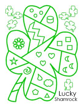 Saint Patricks Day Lucky Patchwork Shamrock Shape Color Puzzle Bulletin Board 5p