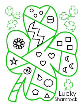 Saint Patricks Day Lucky Patchwork Shamrock Shape Color Puzzle Bulletin Board 5p