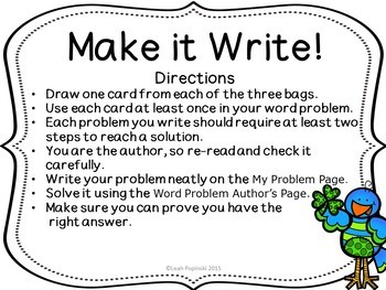 Saint Patrick's Day Math-Writing Word Problems