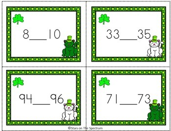 St. Patrick's Day Math Activities Missing Numbers Task Cards