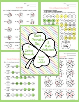 Saint Patrick's Day Math Worksheets and Writing Prompts