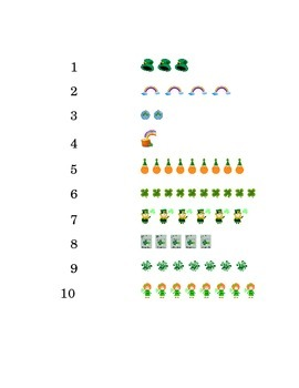 Saint Patrick's Day Number Recognition Draw a Line 1 to 10 Kindergarten