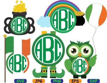 Saint Patricks Day Owls SVG clip art Irish four leaf clover good luck flag -81S