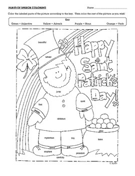 Saint Patrick's Day Parts of Speech Coloring Page