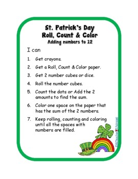 Saint Patrick's Day Roll, Count, Color Set of 4