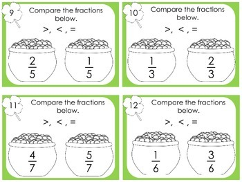 St Patrick's Day Scoot Compare Fractions