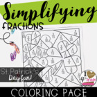 Saint Patrick's Day Fractions Coloring Page