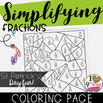 Saint Patrick's Day Simplify Fractions Coloring Page CCSS