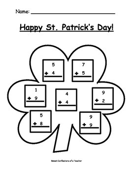 Saint Patrick's Day Single Digit Addition