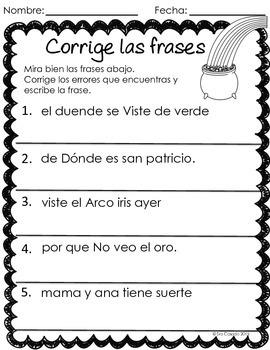 Saint Patrick's Day Spanish Language Arts and Math Bundle (Early Elementary)