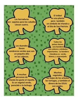 Saint Patricks Day Spanish Vocabulary Intro Activity with Flashcards