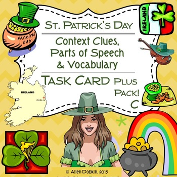 Saint Patrick's Day Task Cards, Worksheets, Quiz and Vocabulary Pack C [MS][HS]
