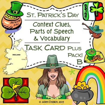 Saint Patrick's Day Task Cards, Worksheets, Quizzes and Vocabulary [MS][HS]
