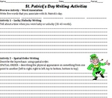 Saint Patrick's Day Writing Activities - Worksheet - SIX act. & prev. act.