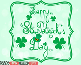 Saint Patricks Day clipart Irish four leaf clover St Patrick's Leprechaun -624s