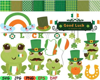 Saint Patricks Day frog SVG clip art Irish background FRAME kawaii flag -89S