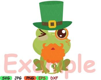 Saint Patricks Day frog SVG clip art Irish background FRAME kawaii flag -89S