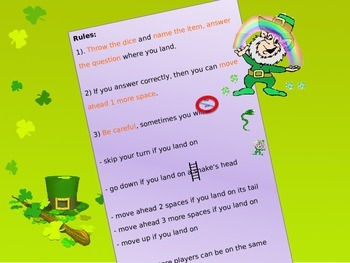 Saint Patrick's day powerpoint board game NO PREP