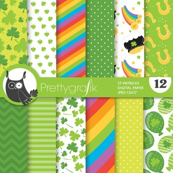 Saint-Patrick's digital paper, commercial use, scrapbook papers, floral - PS698