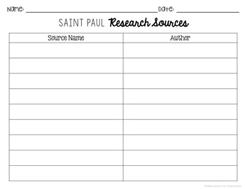 Saint Paul Research Brochure Project with Interactive Notebook Pockets