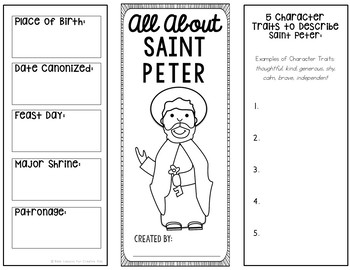 Saint Peter Research Brochure Project with Interactive Notebook Pockets