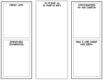 Saint Philip of Neri Research Brochure Project with Interactive Notebook Pockets