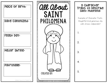 Saint Philomena Research Brochure Project with Interactive Notebook Pockets