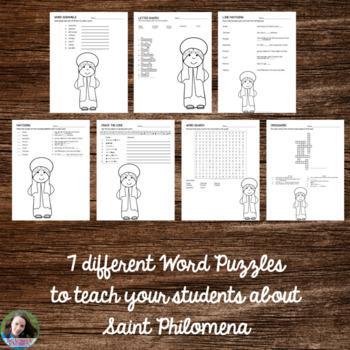 Saint Philomena Word Puzzles - No Prep Catholic Activities